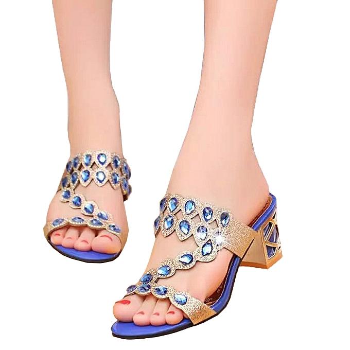 Blicool Shop Women Sandals Summer Fashion Women Girl Big Rhinestone High  Heel Sandals Ladies Beach Sandal 6b66c913e