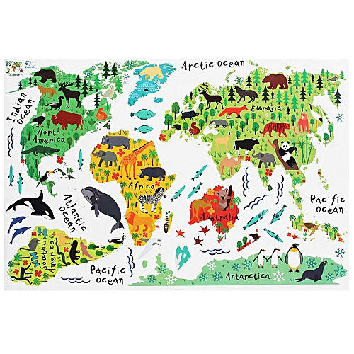World Map Wall Decal Kids.Buy Generic Removable Animal World Map Wall Decal Art Sticker Kids