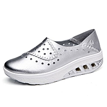 4cm Height Increasing Moccassins Women Genuine Leather Platform Shoes Lady Casual Wedges Shoes (Sliver)