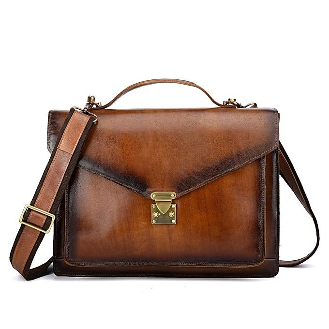 2fd742ab67f2 Crazy horse leather men bags briefcases handbag shoulder crossbody bag men  messenger bags leather laptop bag(BROWN)