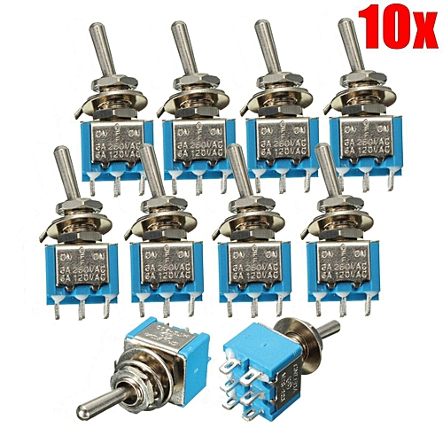 10PC DPDT ON/OFF/ON MINI TOGGLE SWITCH 6 PINS 3 POSITION CAR BOAT 3A 250V  6A 120V
