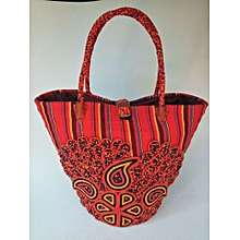 African Handbags, red,orange,black and blue stripes