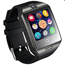 Bluetooth Smart Watch Q18 With Camera Facebook Whatsapp Sync SMS MP3 Smartwatch Support SIM TF Card For IOS Android Phone Black-black