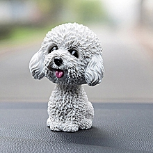 High-grade Shaking Head Dog Car Ornaments Resins Lovely White Teddy Cartoon Dog Year Gifts with Double-sided Adhesive Tape