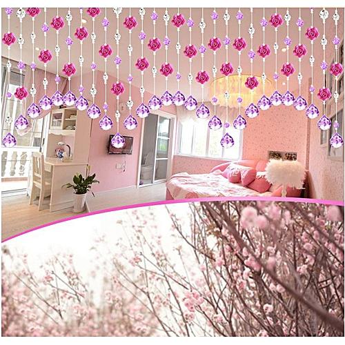 Buy MUYI Crystal Glass Rose Bead Curtain Living Room Bedroom Window ...