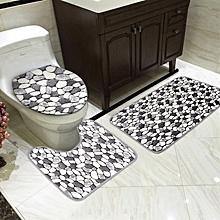 3Pcs/Set Bathroom Non-Slip Stone Pattern Pedestal Rug+Lid Toilet Cover+Bath Mat