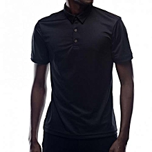 Black Short Sleeved Mens Plain Polo T-shirts