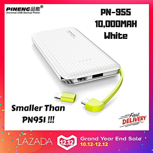 NEW MODEL 2019 Pineng PN-955 PN955 PN 955 10000 mAh Power Bank FAST CHARGE high speed small size easy BGmall