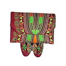 Ankara Print Flat Lady's Shoes with Matching clutch bag -Multicolour