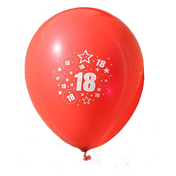 12 Inch Latex Balloons Number Printing 18th Birthday Balloon Party Decorations Red