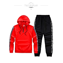 Autumn New Women Sportswear Hooded Letters Color Stripes Zipper Pockets Feet Couple Slim Casual Womens Sports Suit Coat + Pants