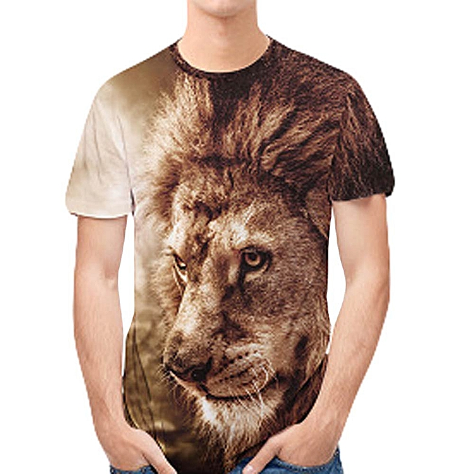 Personality Mens 3D Print Lion Casual Slim Short-sleeved Shirt Top  Blouse-Coffee