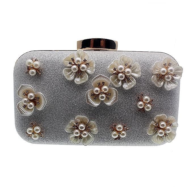 fed6d236f1a8 Women White Clutch Bag Cluster Pearl Flowers Party Bridal Handbag Wedding  Evening Purse - White HBS0011