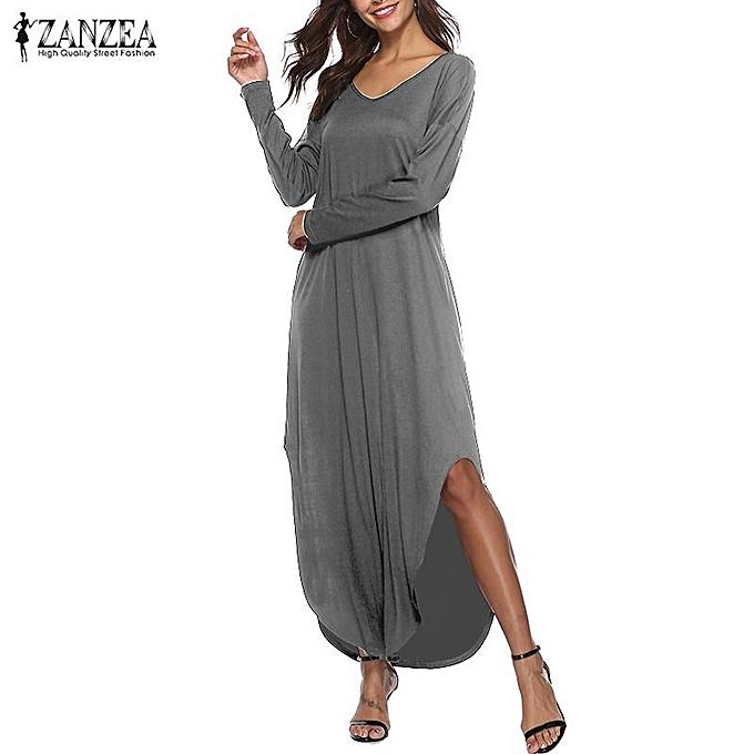 ... ZANZEA Women Low Cut V Neck Long Maxi Dress Asymmetrical Casual Party  Shirt Dress Plus ... c1a6e05c8