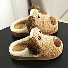 Toddler Baby Girls Boys Plush Soft Slippers Non-slip Warm Velvet Snow Shoes- Brown