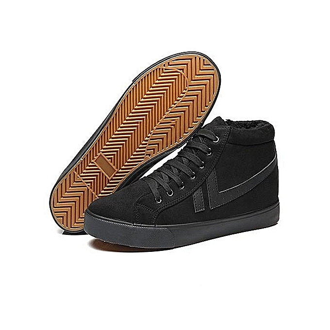 556086eff8801f ... Men s plus velvet padded cotton shoes high-top tie casual shoes black  ...