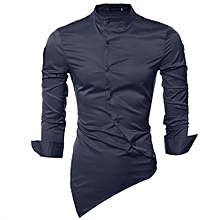PODOM Men's Personality Slant Blanket Irregular Hem Long Sleeve Fashion Casual Shirts Navy Blue