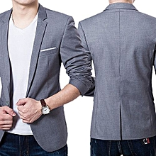 Men's Slim Formal Business Suit Coat One Button Lapel Long Sleeve Pockets Top-Grey