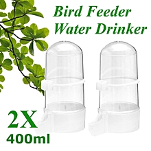 2 x 400ml Pet Bird Drinker Feeder Water Bottle With Clip For Parrot Canary