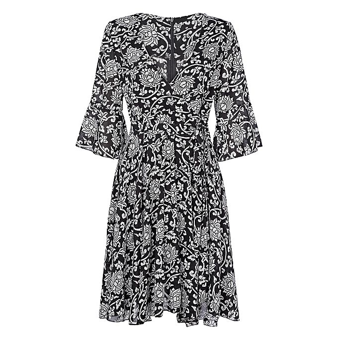 Sexy Plunge Neck Bell Sleeve Print Belted Women A-line Dress - BLACK