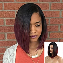 Women Short Straight Wine Synthetic Hair Wigs Women's Fashion Syntheic Wig -Wine