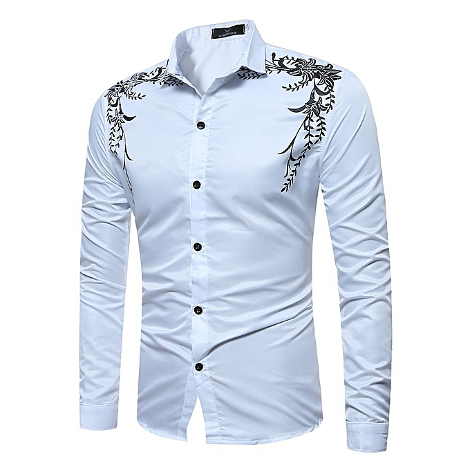 bd7f4fb80 Mens Hipster Casual Slim Fit Long Sleeve Button Down Dress Shirts Tops with  Embroidery-white