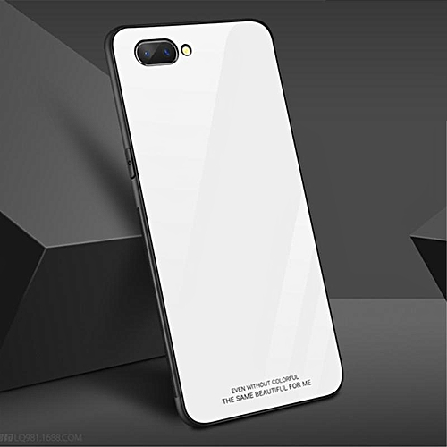 the latest 23ed4 f74c6 Glass Case For Realme C1 Case Full Protection Tempered Glass Back Cover For  OPPO Realme C1 Case Housing (White)