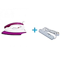 Stainless Dry Iron box Plus Free Heavy Duty Power Extension