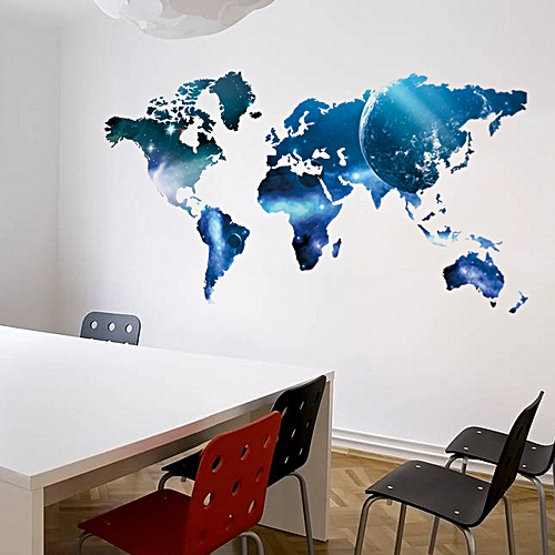 Buy generic decorative self adhesive living room bedroom office decorative self adhesive living room bedroom office world map decal blue removable mural wall art sticker gumiabroncs Images