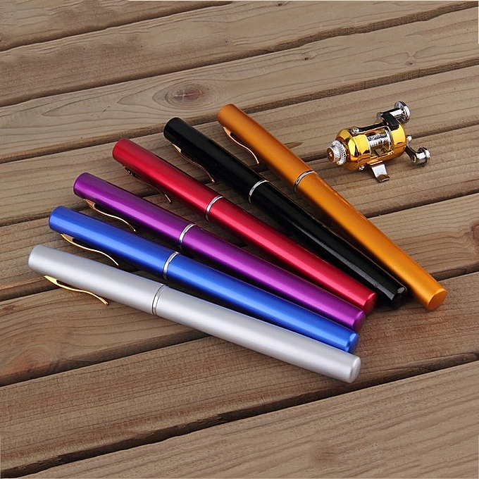 ... Mini Portable Aluminum Alloy Pocket Pen Shape Fish Fishing Rod Pole With Reel Blue ...