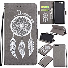 Premium Embossed Wind Chimes PU Leather Wallet Folio Flip Cases with Detachable Wrist Strap Card Slots Kickstand Function Cover Case for OnePlus 5 XBQ-A