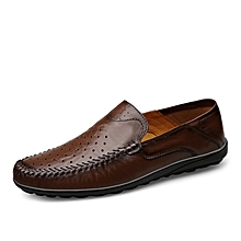 Mens Dress Formal Genuine Leather Hollow Shoes Dark Brown