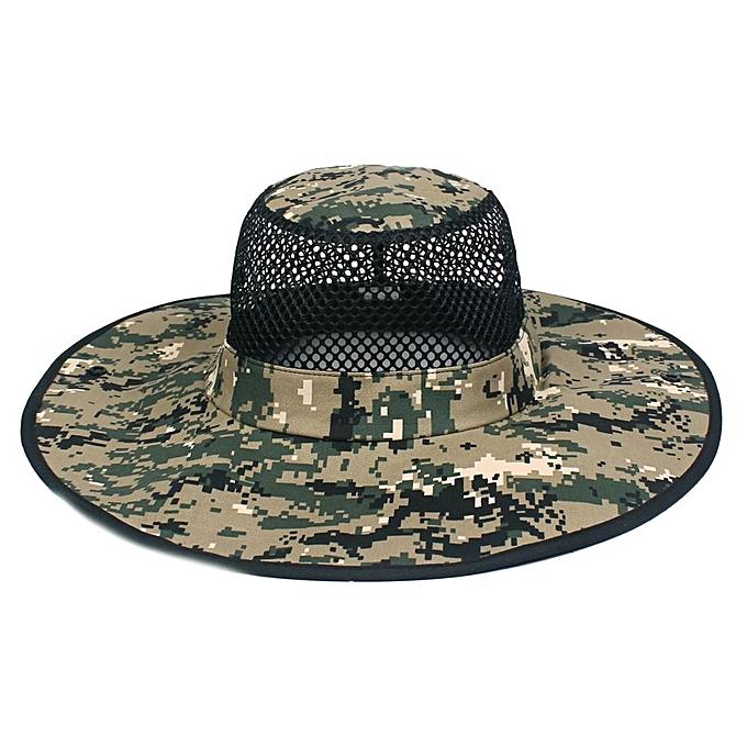 2e928b18cb5 Men Summer Camouflage Cotton Visor Bucket Hats Folding Fisherman Hat  Outdoor Climbing Mesh Sun Cap
