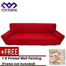 [Buy 1 Get 1 Free Printed Wall Painting ] 7 Solid Pure Colour Elastic Couch Stretch Sofa Cover 4 Seater Slipcover Burgundy