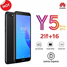 "Y5 Prime 2018 - 5.45"" - 16GB ROM - 2GB RAM - 13MP Camera (Dual SIM) - Black"