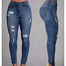 914cbf22241a1c Hole fashion denim pants female fashion casual pocket skinny pencil jean  pants jeans women trousers-