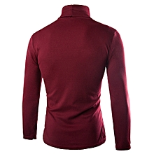 Men Turtleneck Plain T-Shirt - Red