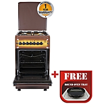 MST55PI4GDB/HC - Standing Cooker, 4 Gas Burners, Electric Oven - Brown + Free Tray