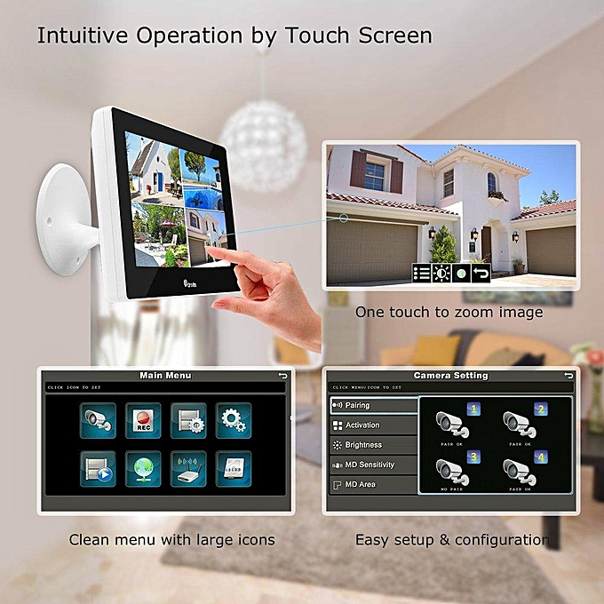 Ctronics Wireless 9 inch Touch Screen Home Surveillance System with 2 720p  Cams