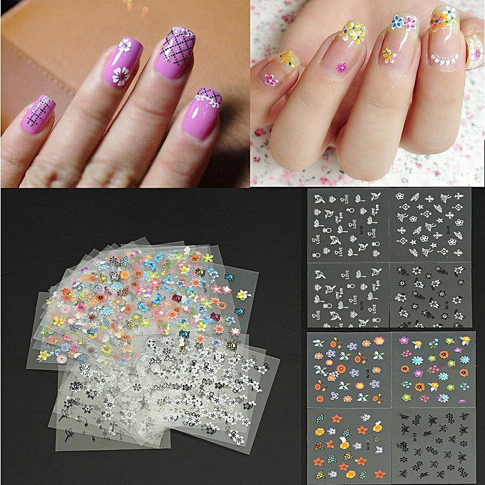 Buy Generic 30 Sheets Flower 3d Nail Art Transfer Stickers Decals