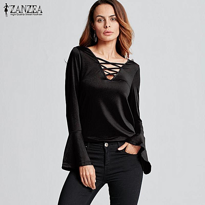 020673adfc1 ZANZEA New Arrival Tops Tees Autumn Women Blouses Sexy V-Neck Hollow Out  Casual Blusas