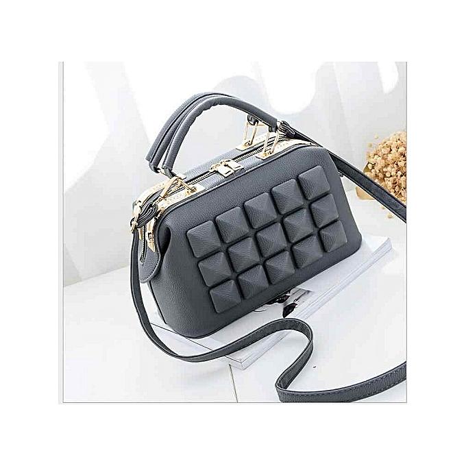 1726df1d855 Women Leather Boston Bag Ladies Stone New Design Handbag Female Luxury  Party Evening Bags Casual Tote
