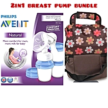 AVENT Natural Breast Pump with Reusable Milk Storage Cup - Clear & A 2Comparent Breast Pump & Milk Storage Cooler Bag