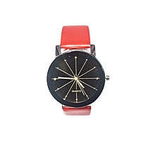 Ladies Quartz Leather Wrist Watch -Red