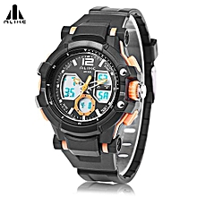 AK16123 Male Dual Movt LED Sport Watch Chronograph Calendar Men Wristwatch-Orange-Orange