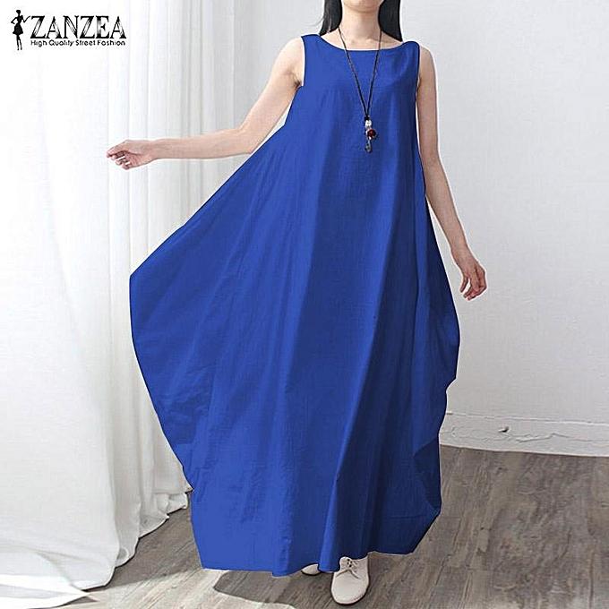 ce62c9115a7 ZANZEA Casual kaftan Linen Summer Dress Women Elegant Loose Sleeveless O  Neck Dress Cotton Long Maxi
