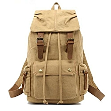 AUGUR Canvas Backpack Straw String Outdoor Mountain Travel Bag Washed Canvas Bag With Leather Camping Rucksack Men Women Black(Khaki)