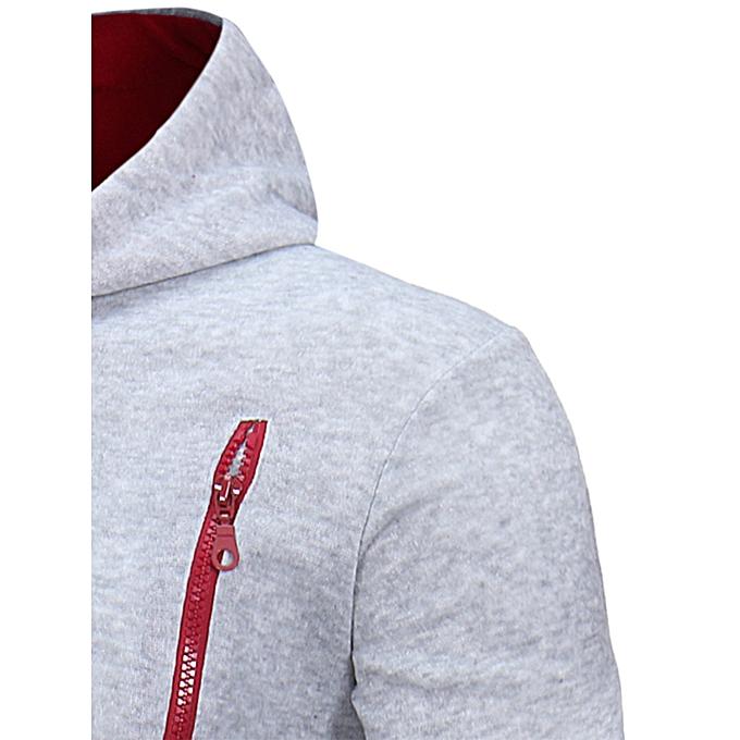 ae2720887 Fashion Oblique Zippers Color Block Fleece Hoodie - LIGHT GRAY ...