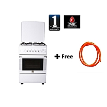 Free Standing Gas Cooker, 50cm X 55cm, 4Gas Burners Gas Oven, Rottiserrie, Top and Bottom Oven Control, - MST55PIAGWH/SD, With free 1.5M gas pipe - White