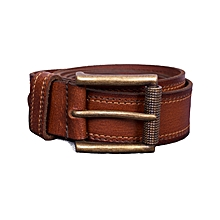 Mens Genuine 100% Pure Leather Pin Buckle Belt - Brown